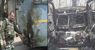 याद आया पुलवामा हमला, सीआरपीएफ काफिले की बस से टकराकर कार में जोरदार धमाका, श्रीनगर से आई खबर