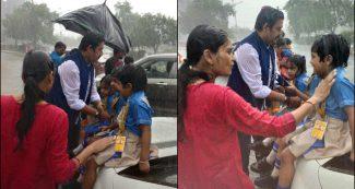 रियल लाइफ में भी असली हीरो हैं रवि किशन, भीगते स्कूली बच्चों की ऐसी की मदद