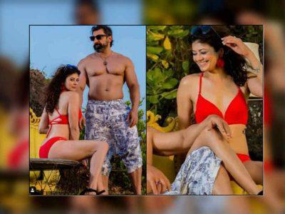 Photos: पूजा बत्रा ने रेड बिकिनी में कराया Photo-shoot, हस्बैंड नवाब शाह भी दिखे शर्टलेस