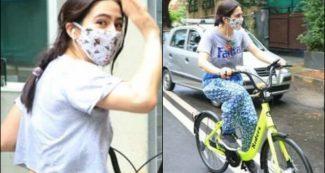 मुंह पर मास्क लगाये साइकिल घूमाती रही सारा अली खान, नहीं पहचान पाये लोग