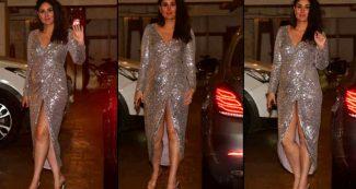 हाई फ्रंट स्लिट सिल्वर ड्रेस में दिखीं करीना कपूर खान, बेबी बंप किया फ्लॉन्ट, तस्वीरें वायरल