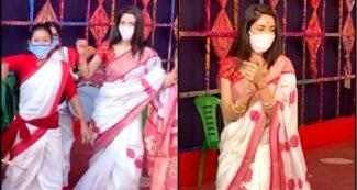 लाल साड़ी पहन नुसरत जहां ने दुर्गा पंडाल में किया पारंपरिक डांस, Video वायरल