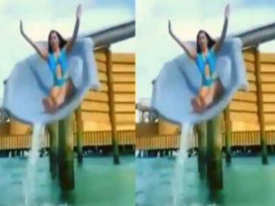 Kiara Advani ने स्लाइड के जरिये पूल में लगाई छलांग, मोनोकिनी में दिखा ग्लैमरस अवतार!