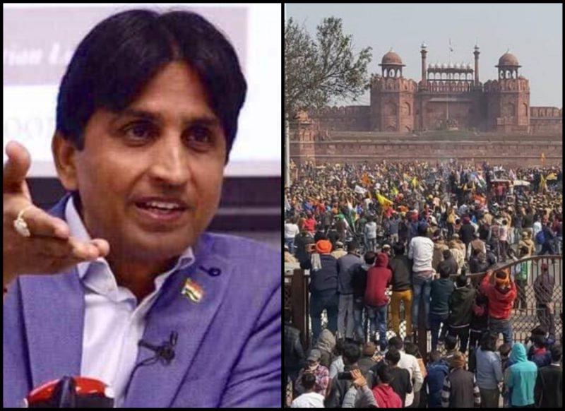 किसानों की ट्रैक्टर रैली में मचा बवाल तो कवि कुमार विश्वास का आया ट्वीट-  'किसी भी हाल में देश विरोधी…'