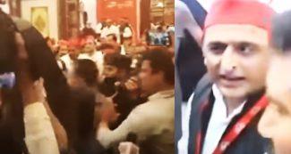 VIDEO: अखिलेश यादव की प्रेस कांफ्रेंस में जमकर हंगामा, पत्रकारों से बदसलूकी