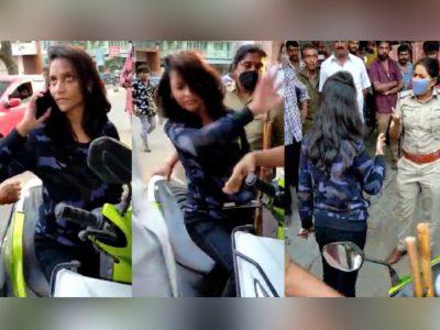 पार्किंग को लेकर पुलिस से बहस कर रही लड़की को महिला SI ने जड़ दिया तमाचा, वीडियो वायरल