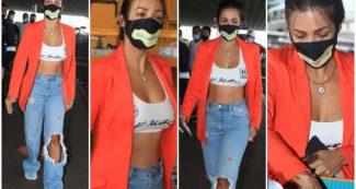 Photos: रिप्ड जींस और स्पोर्ट्स ब्रा में दिखीं मलाइका अरोड़ा,मुंबई एयरपोर्ट पर दिखा कूल लुक