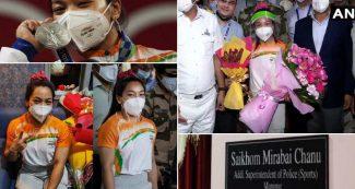 मीराबाई चानू का भव्य स्वागत, भारत लौटते ही ईनामों की बौछार, पुलिस में मिला बड़ा पद